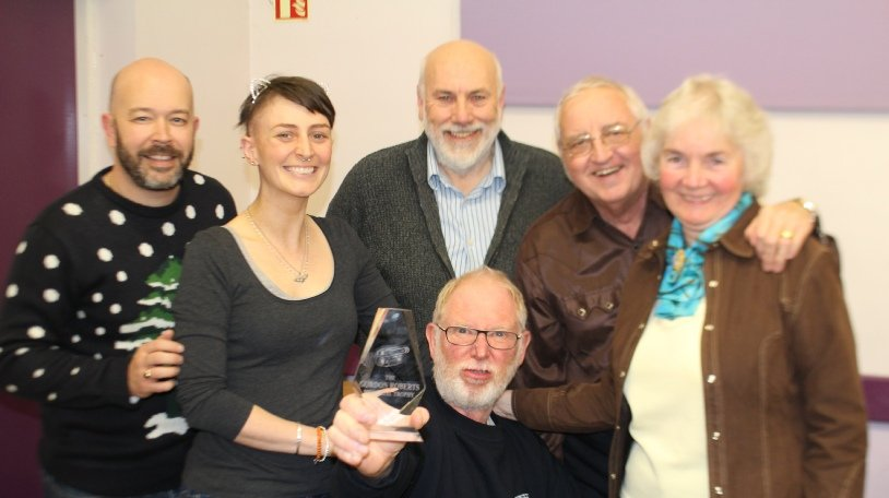 """SCMM TEAM """"C"""" with the trophy they won at Midland Movie Makers Midsummer Madness in June 2016 for their film """"The Awful Truth"""".  Julian Austwick, Fiona Dunn, Ian Lane, Andy Wills (seated), Arthur Fletcher, Ann Fletcher. Watch """"The Awful Truth"""" here."""
